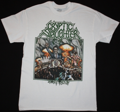 CRYPTIC SLAUGHTER MONEY TALKS 1987 THRASH NEW WHITE T-SHIRT