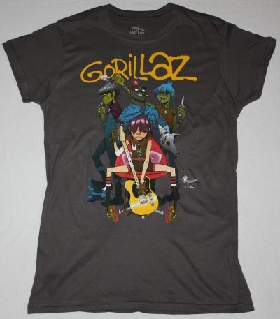 GORILLAZ BAND NEW GREY CHARCOAL LADY T-SHIRT