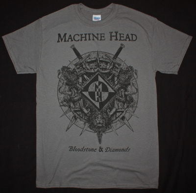MACHINE HEAD BLOODSTONE & DIAMONDS 2014  NEW GREY T-SHIRT