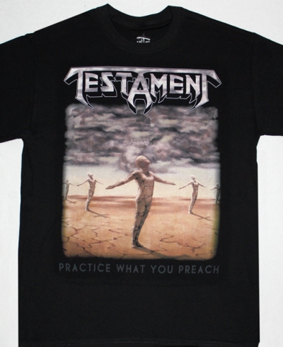 TESTAMENT PRACTICE WHAT YOU PREACH'89  NEW BLACK T-SHIRT