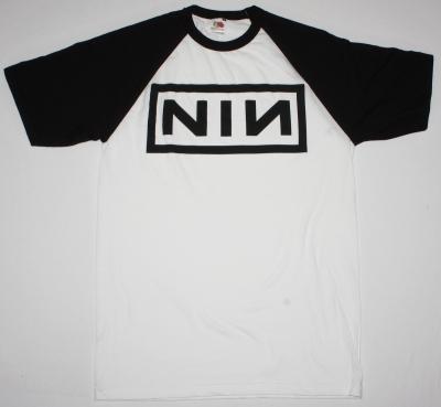 NINE INCH NAILS LOGO NEW WHITE/BLACK BASEBALL T-SHIRT