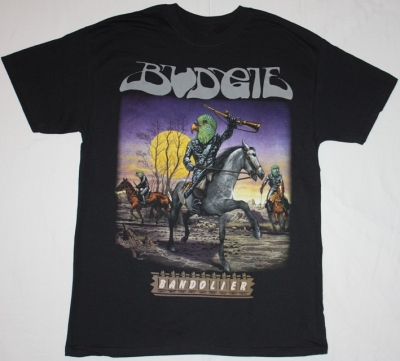 BUDGIE BANDOLIER'75  NEW BLACK T-SHIRT