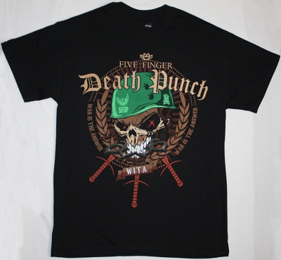 FIVE FINGER DEATH PUNCH WAR IS THE ANSWER LOGO NEW BLACK T-SHIRT