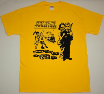 PETER AND THE TEST TUBE BABIES JOURNEY TO THE CENTRE OF JOHHNY CLARKES HEAD NEW YELLOW T-SHIRT
