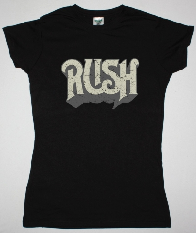 RUSH DISTRESSED LOGO NEW BLACK LADY T-SHIRT