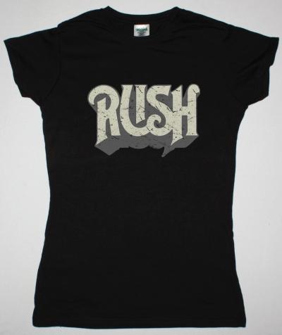 RUSH DISTRESSED LOGO NEW BLACK LADY T-SHIRT