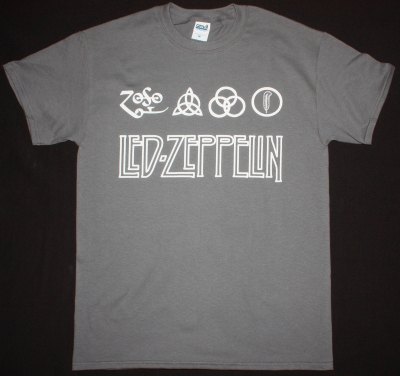 LED ZEPPELIN LOGO NEW GREY CHARCOAL T-SHIRT