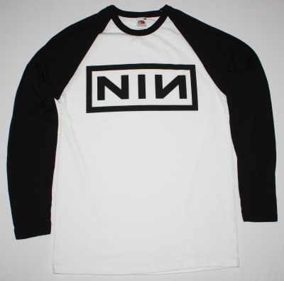 NINE INCH NAILS LOGO NEW WHITE/BLACK LONG SLEEVE BASEBALL T-SHIRT