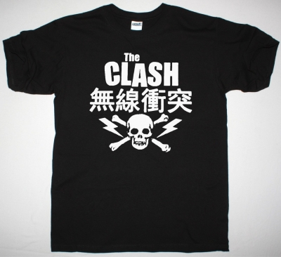 THE CLASH JAPANESE SKULL NEW BLACK T-SHIRT