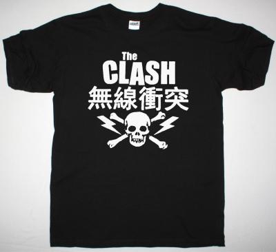 THE CLASH JAPANESE SKULL NEW BLACK T-SHIRT