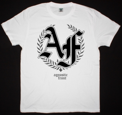 AGNOSTIC FRONT LAUREL NEW WHITE T SHIRT