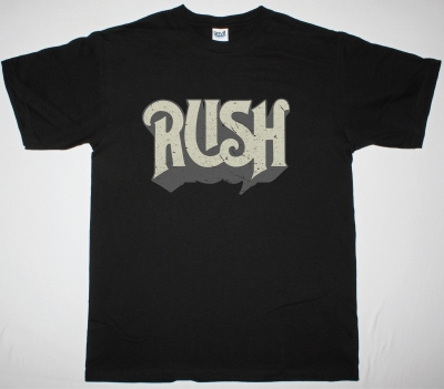 RUSH DISTRESSED LOGO NEW BLACK T-SHIRT