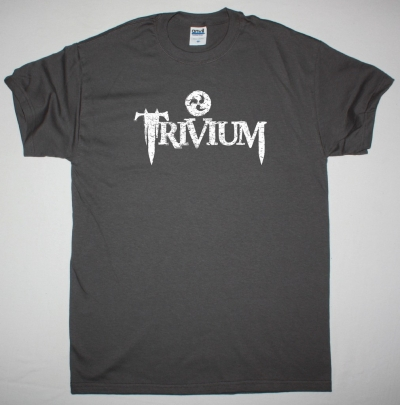 TRIVIUM DISTRESSED LOGO NEW GREY CHARCOAL T-SHIRT