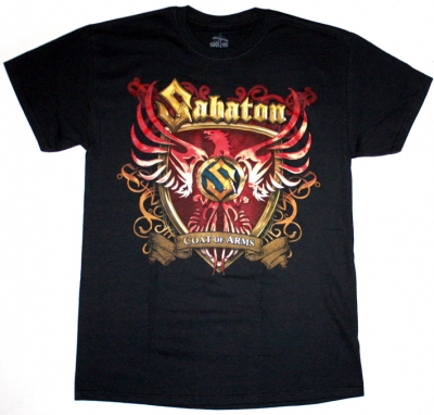 SABATON COAT OF ARMS NEW BLACK T-SHIRT