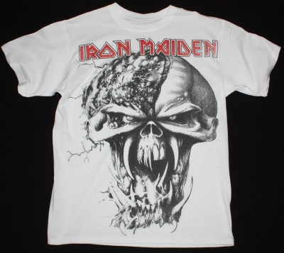 IRON MAIDEN HEAD JUMBO PRINT NEW WHITE T-SHIRT