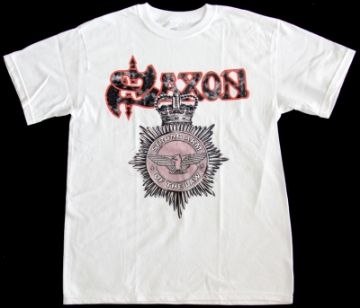 SAXON STRONG ARM OF THE LAW '80 NEW WHITE T-SHIRT