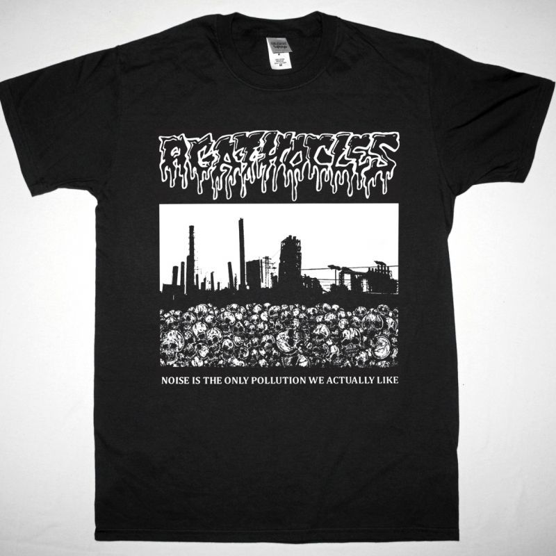 AGATHOCLES NOISE IS THE ONLY POLLUTION WE ACTUALLY LIKE NEW BLACK T-SHIRT