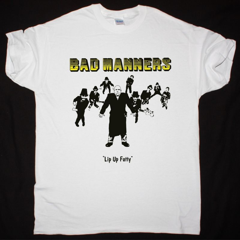 BAD MANNERS LIP UP FATTY NEW WHITE T-SHIRT