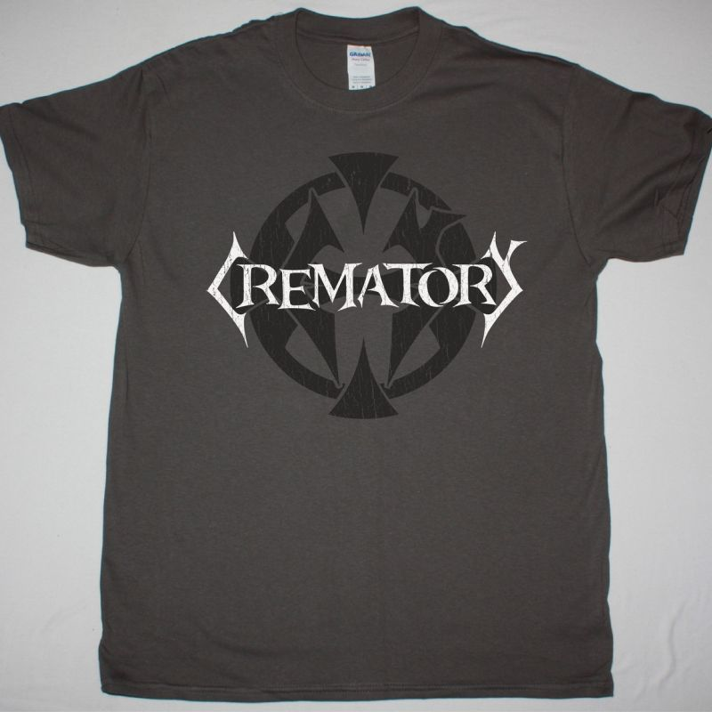 CREMATORY MONUMENT LOGO NEW GREY CHARCOAL T SHIRT