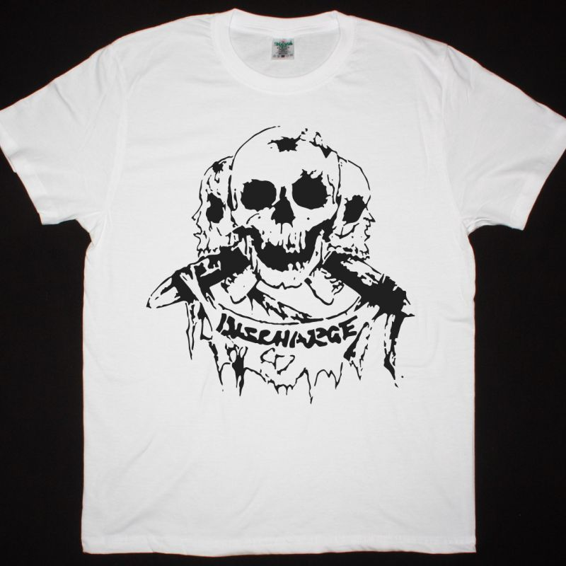 DISCHARGE SKULLS NEW WHITE T SHIRT