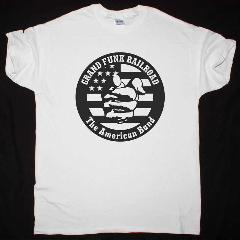 GRAND FUNK RAILROAD THE AMERICAN BAND NEW WHITE T-SHIRT