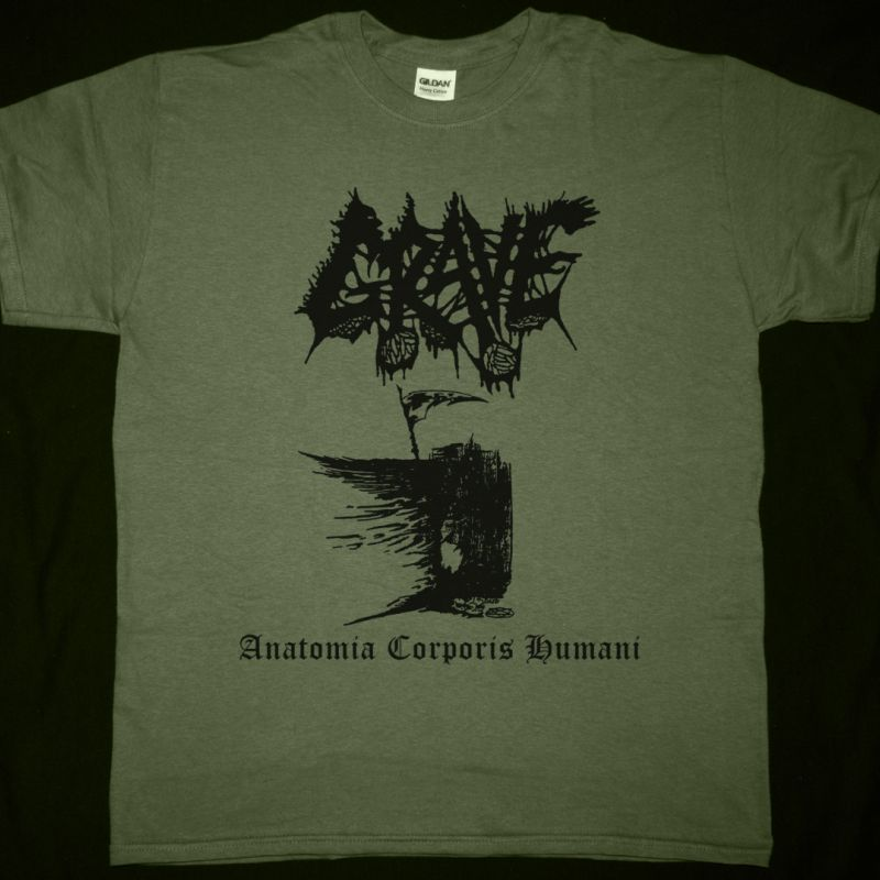 GRAVE ANATOMIA CORPORIS HUMANI NEW MILITARY GREEN  T-SHIRT