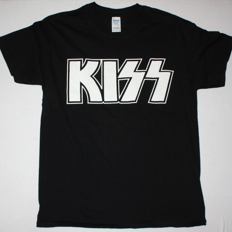 KISS WHITE LOGO NEW BLACK T-SHIRT