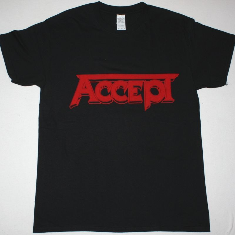 ACCEPT RED LOGO NEW BLACK T-SHIRT