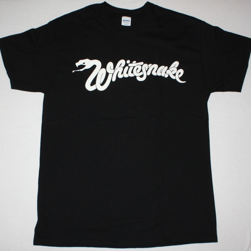 WHITESNAKE WHITE LOGO NEW BLACK T-SHIRT