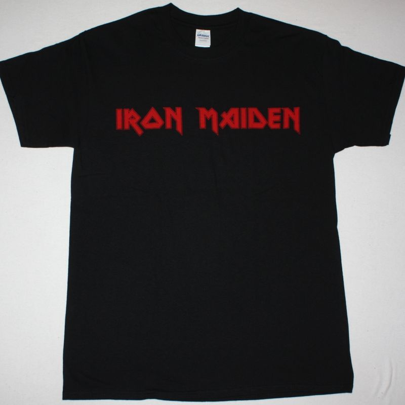 IRON MAIDEN RED LOGO NEW BLACK T-SHIRT