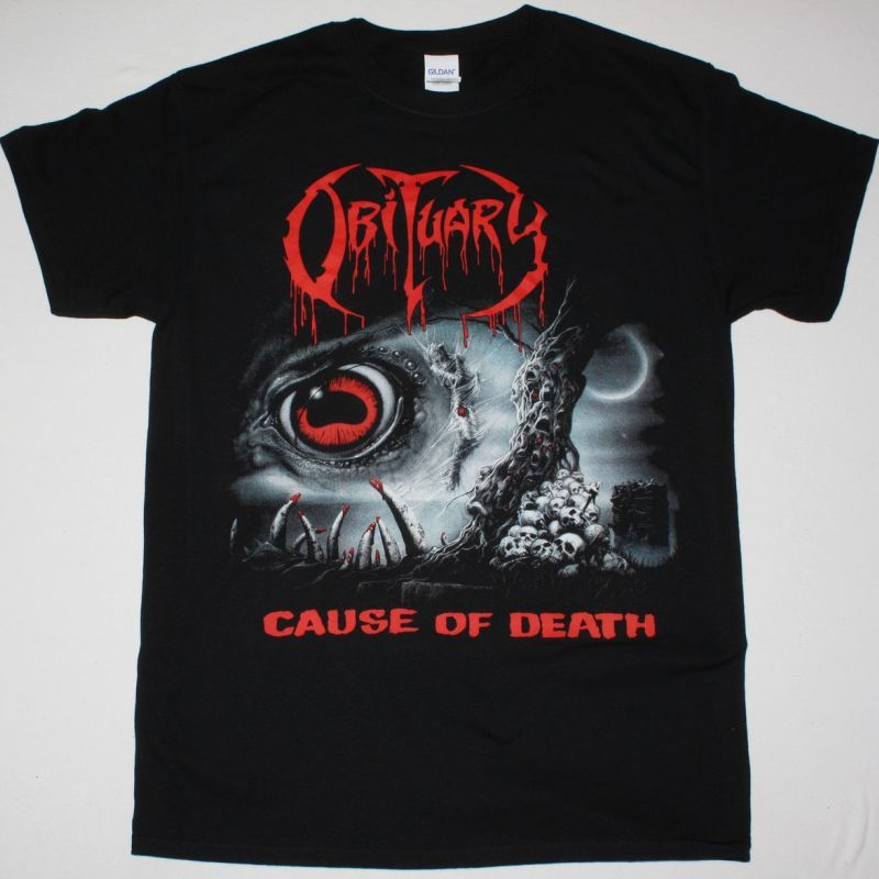 OBITUARY CAUSE OF DEATH NEW BLACK T-SHIRT