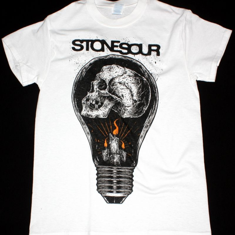 STONE SOUR LIGHTBULB NEW WHITE T-SHIRT