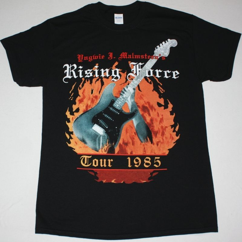 YNGWIE MALMSTEEN RISING FORCE NEW BLACK T SHIRT