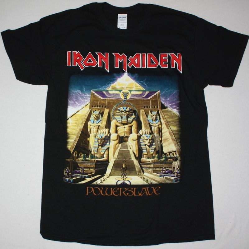 IRON MAIDEN POWERSLAVE 1984 NEW  BLACK T-SHIRT