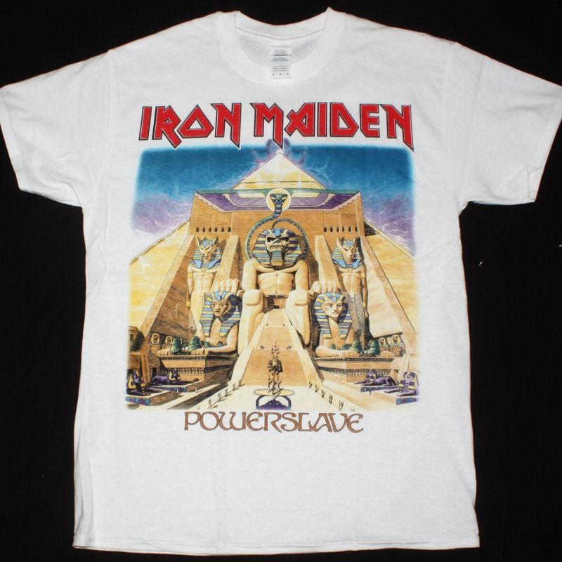 IRON MAIDEN POWERSLAVE 1984 NEW  WHITE T-SHIRT
