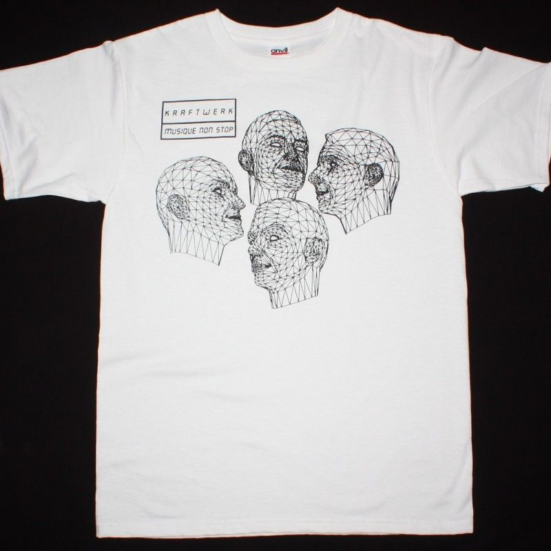 KRAFTWERK MUSIQUE/MUSIC NON STOP NEW WHITE RARE T-SHIRT