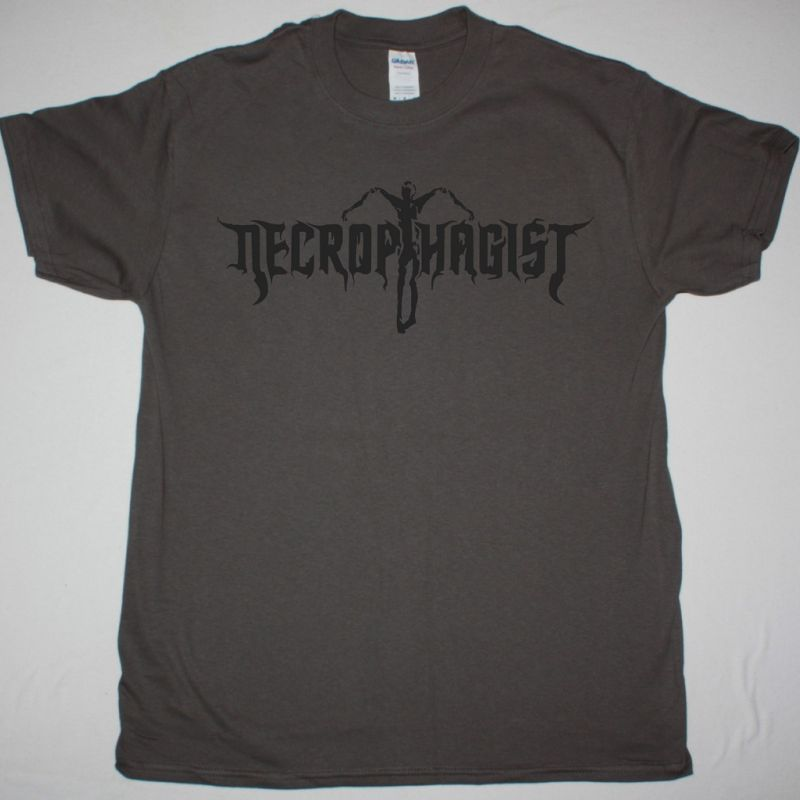 NECROPHAGIST LOGO NEW GREY CHARCOAL T-SHIRT