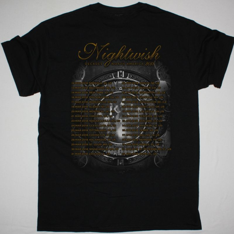 NIGHTWISH DECADES NORTH AMERICA 2018 TOUR NEW BLACK T-SHIRT