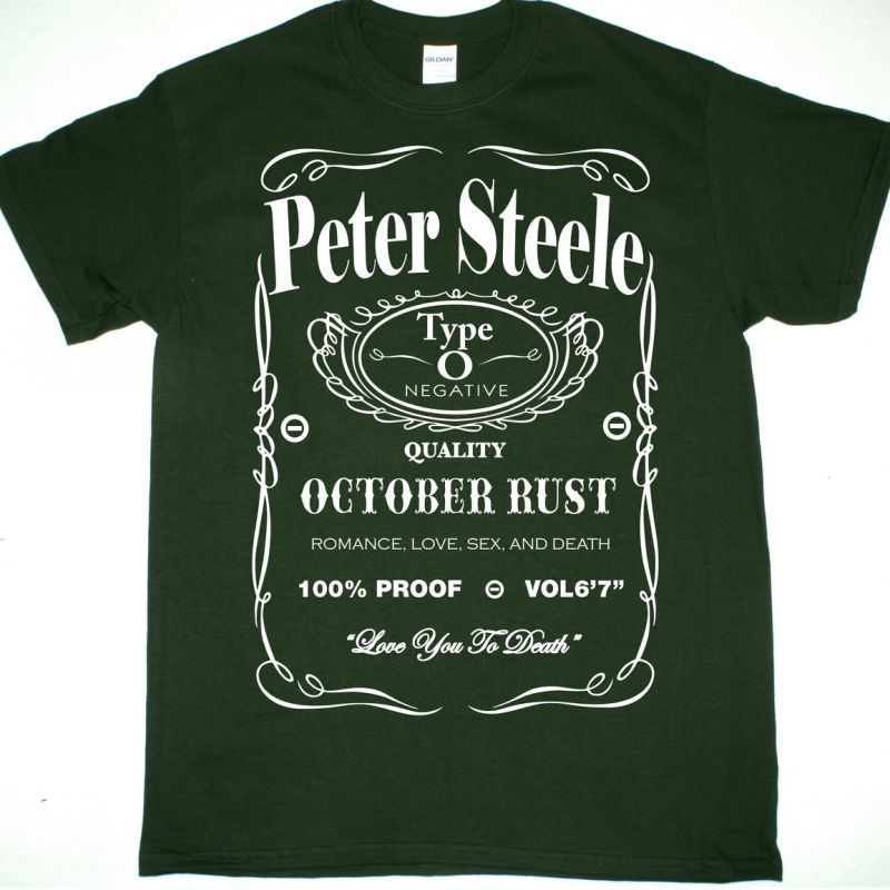 PETER STEELE TRIBUTE TYPE O NEGATIVE NEW FOREST GREEN T-SHIRT
