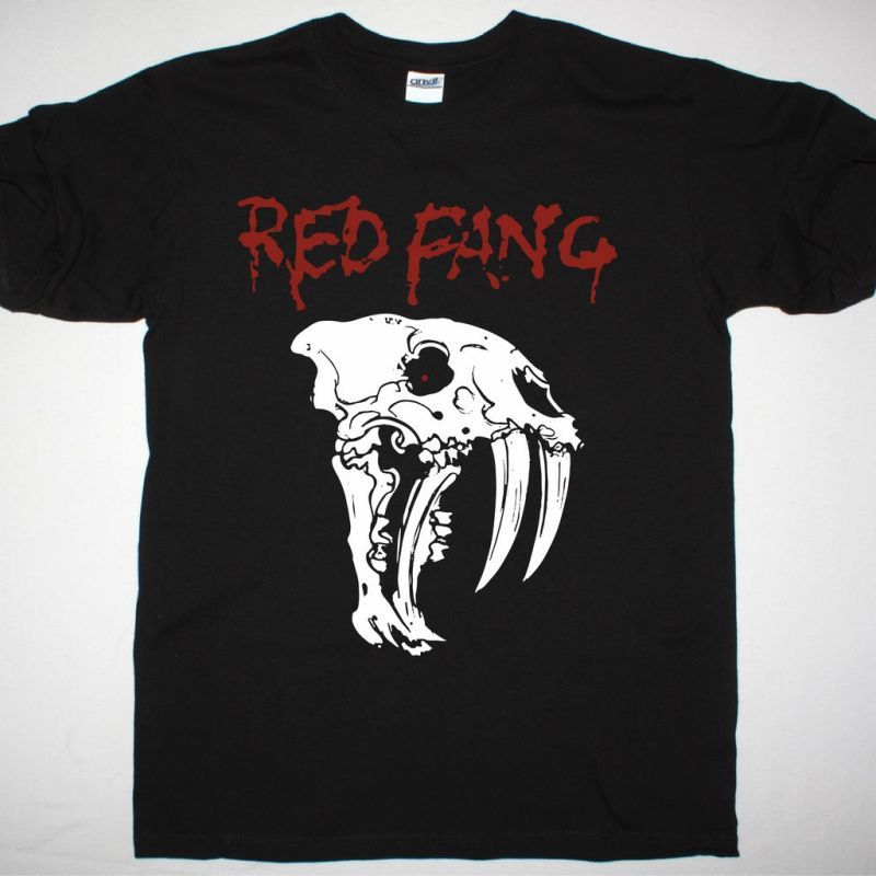 RED FANG NEW SKULL NEW BLACK T-SHIRT