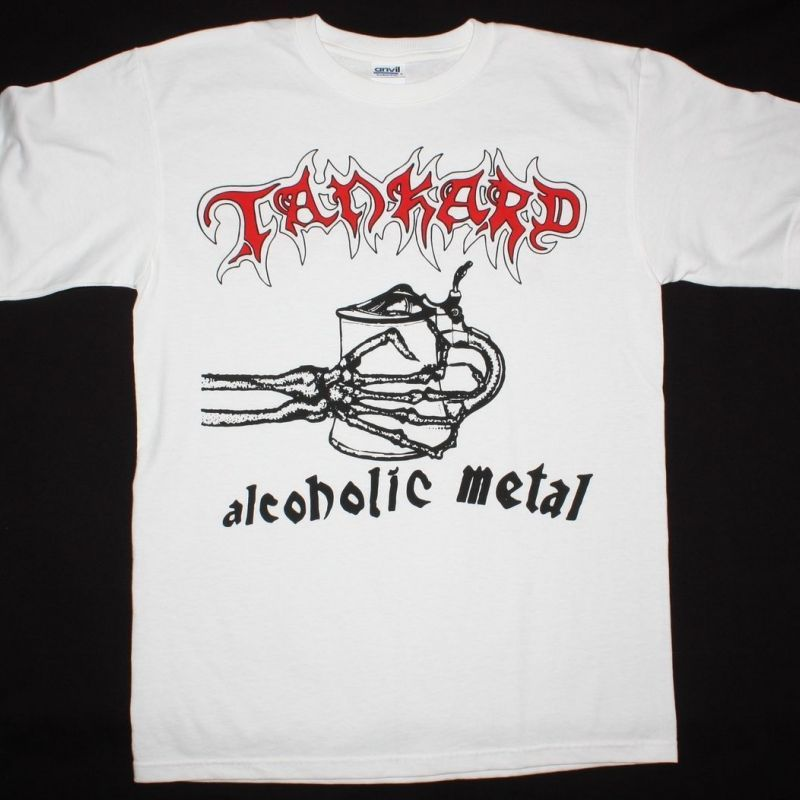 TANKARD ALCOHOLIC METAL 2 NEW WHITE T-SHIRT