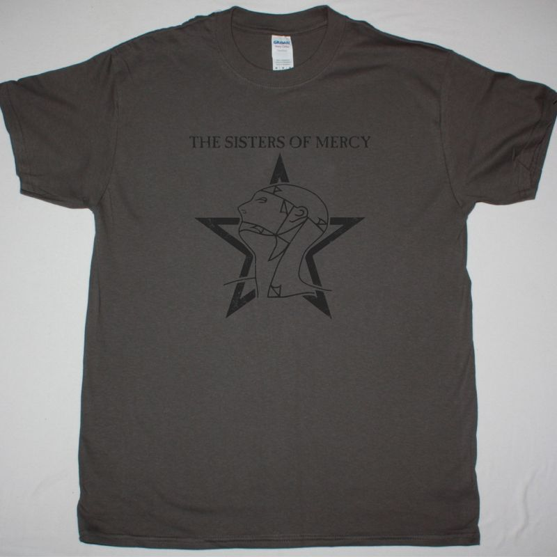 THE SISTERS OF MERCY DISTRESSED LOGO NEW GREY CHARCOAL T-SHIRT