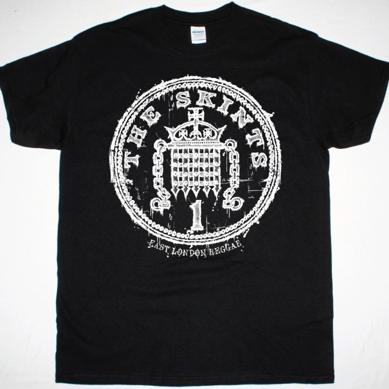 THE SKINTS PENNY LOGO NEW BLACK T-SHIRT