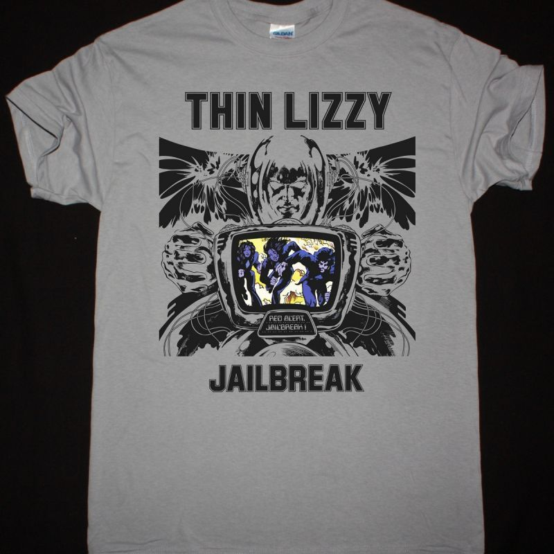 THIN LIZZY JAILBREAK NEW LIGHT GREY T-SHIRT