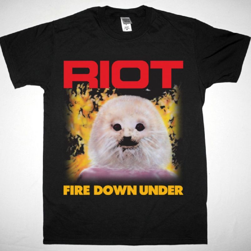RIOT FIRE DOWN UNDER 1981 NEW BLACK T-SHIRT
