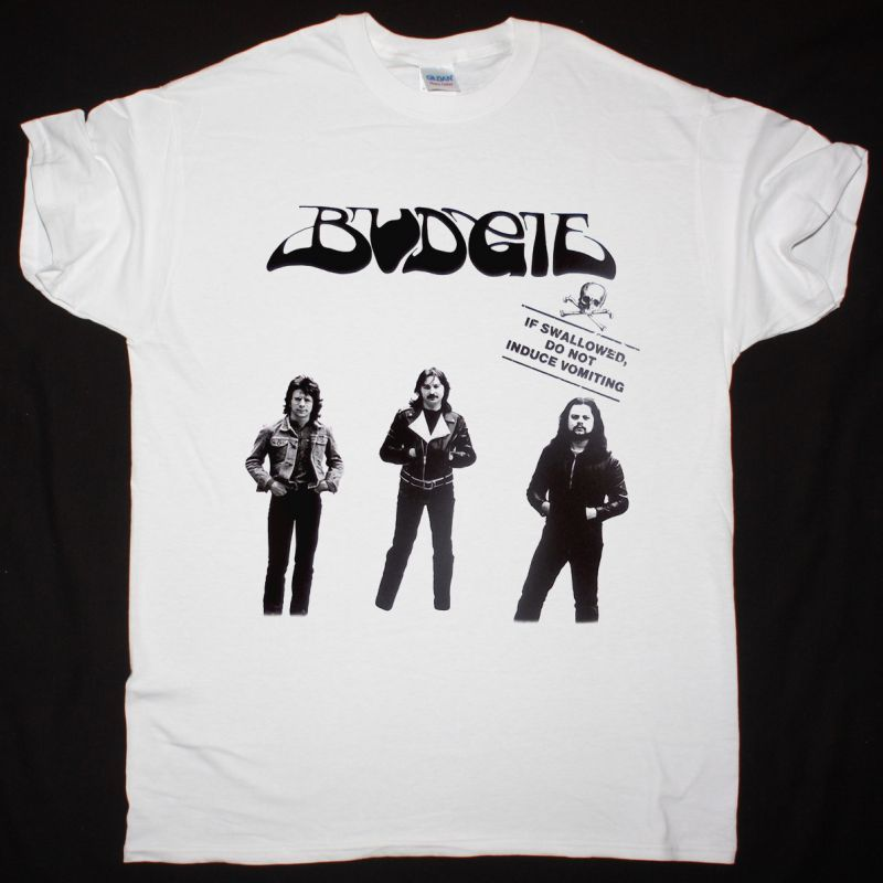 BUDGIE IF SWALLOWED DO NOT INDUCE VOMITING 1980 EP NEW WHITE T-SHIRT