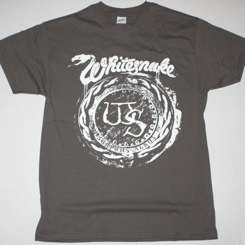 WHITESNAKE DISTRESSED LOGO NEW GREY CHARCOAL T-SHIRT