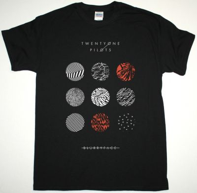 TWENTY ONE PILOTS BLURRYFACE PATTERN CIRCLES NEW BLACK T-SHIRT