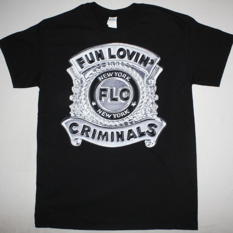 FUN LOVIN CRIMINALS POLICE BADGE NEW BLACK T-SHIRT