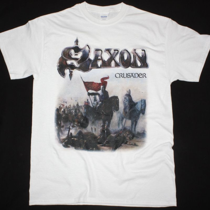 SAXON CRUSADER NEW WHITE T SHIRT